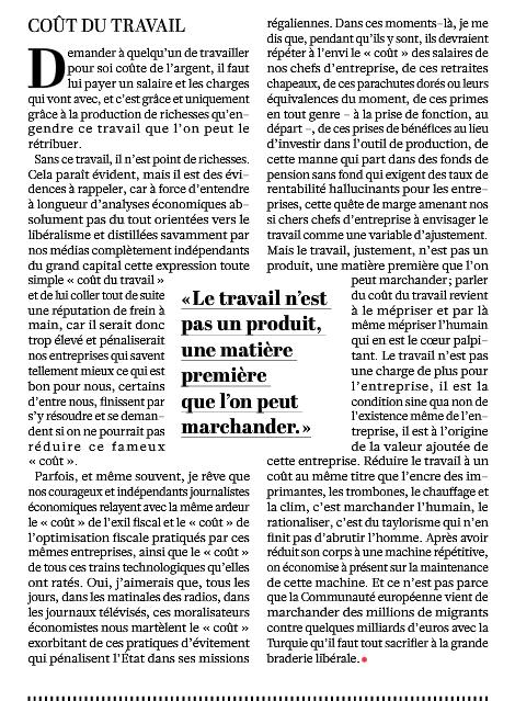 Philippe Torreton dans l'Humanité du 13 mai 2016